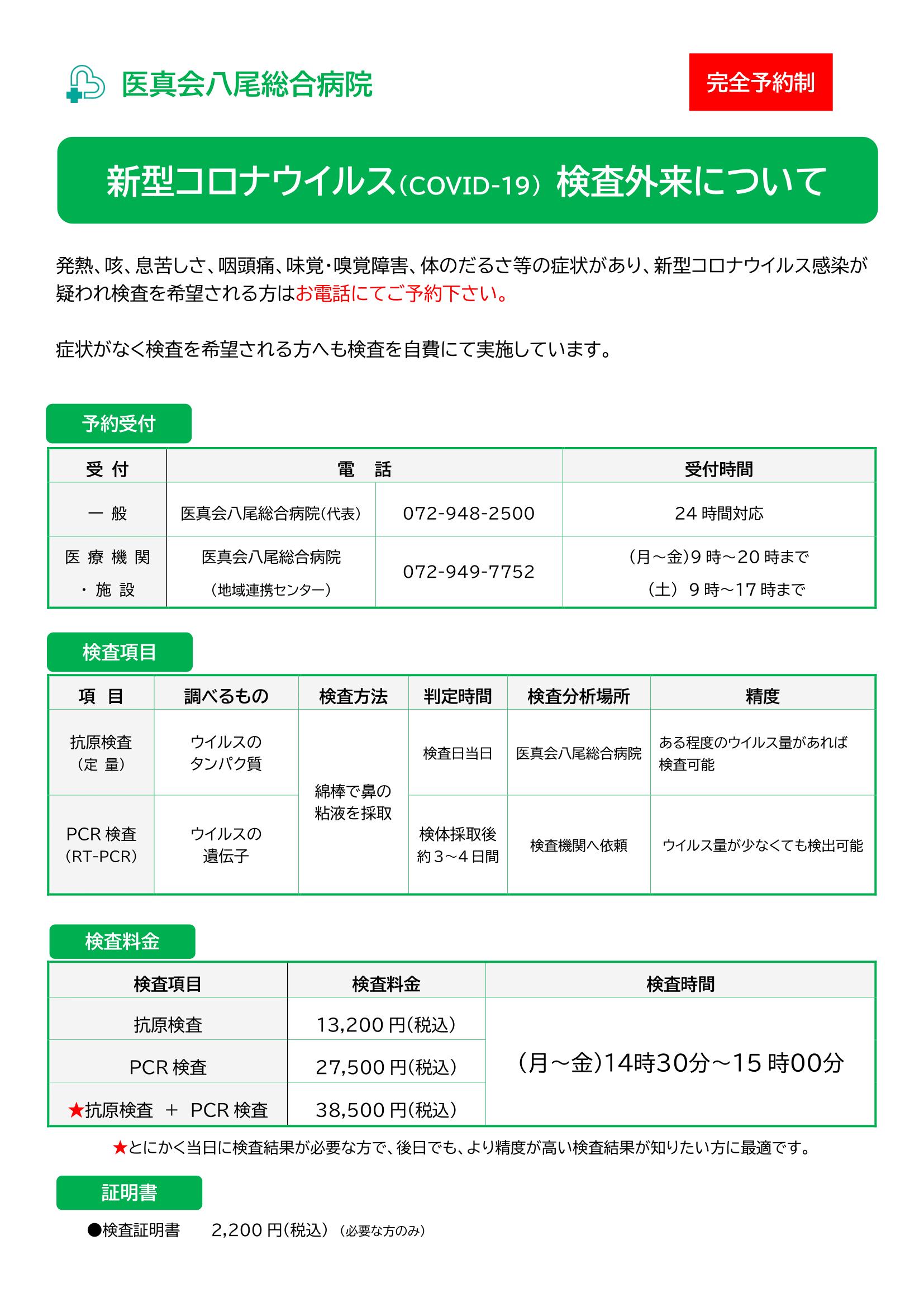 八尾 コロナワクチンPCR検査